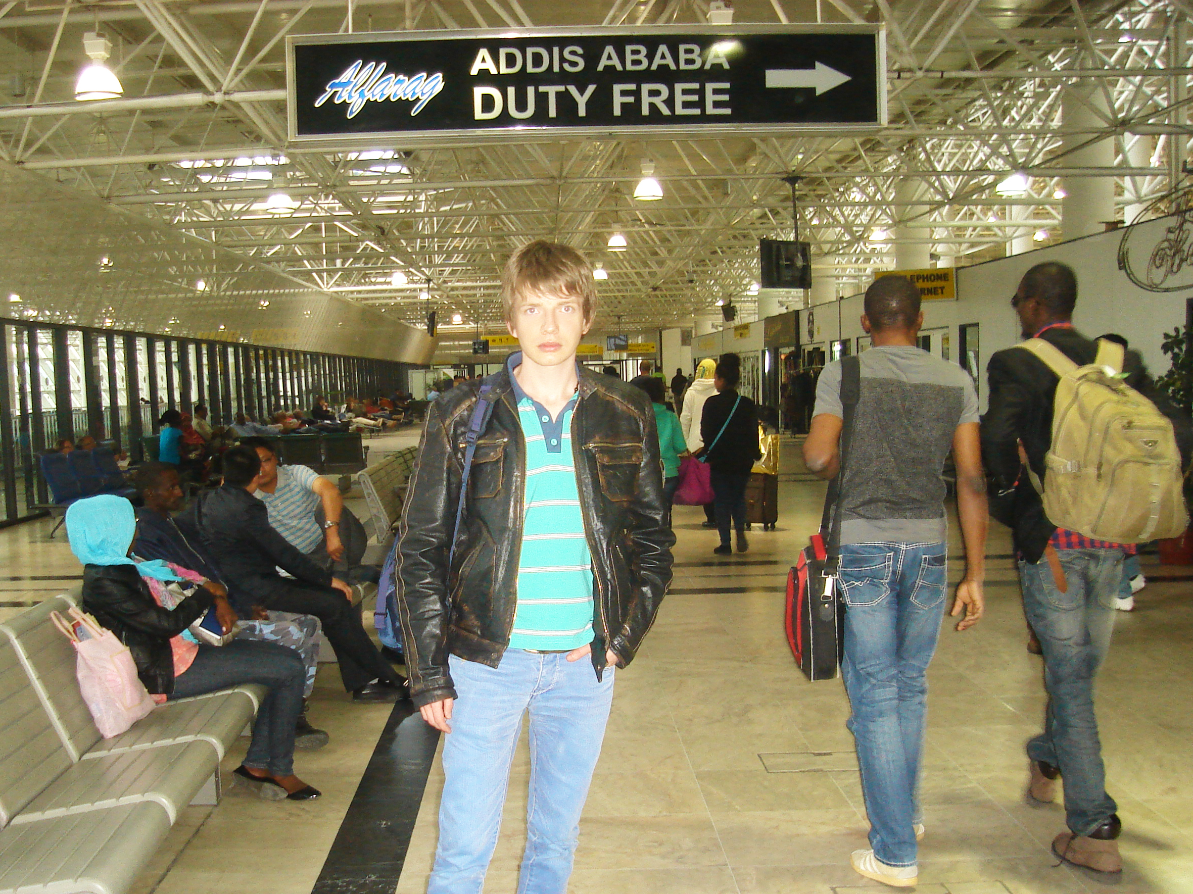 Sasha Milivojev in Ethiopia, at the airport in Addis Ababa